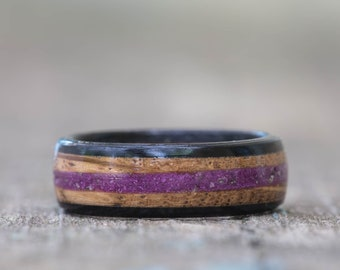 Whiskey Barrel and Ebony Ring with Sugilite Inlay