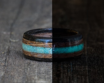 Whiskey Barrel and Ebony Ring with Azurite and Blue Glow in the Dark Powder Inlay