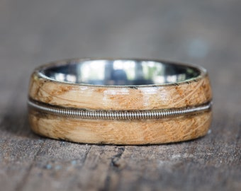Tennessee Whiskey Barreland Titanium Ring with Guitar String Inlay