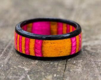 Pink and Orange Ebony Wood Ring
