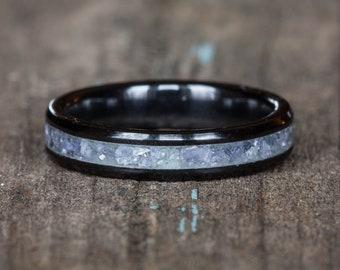 Tanzanite Black Ceramic Stacking Ring