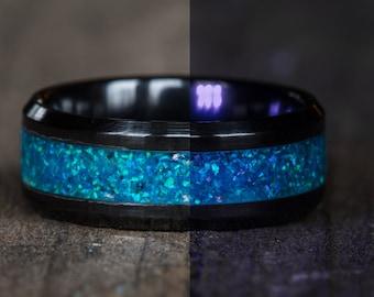 Glowing Blue Opal Black Ceramic Ring
