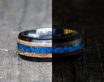 Tennessee Whiskey Barrel, Ebony, and Titanium Ring with Blue Azurite Glow in the Dark Inlay