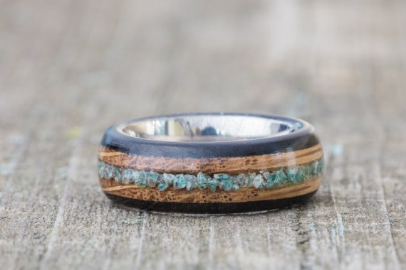 Tennessee Whiskey Barrel and Ebony Wood with Amazonite and Titanium Ring - Mens Wedding Band Womens Wooden Wedding Engagement Anniversary