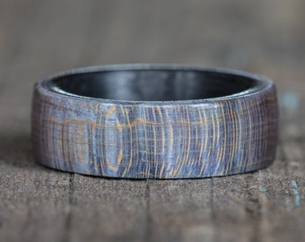 Blue Purple Dyed Maple Wood Ring with Carbon Fiber Liner