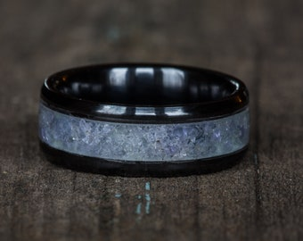 Tanzanite Black Ceramic Ring