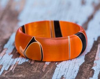 Orange and Black Acrylic Ring