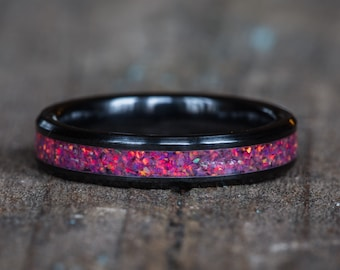 Pink Opal Black Ceramic Stacking Ring