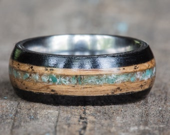 Tennessee Whiskey Barrel Amazonite and Ebony Wood Ring with Titanium Liner