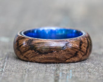 Tennessee Whiskey Barrel and Blue Anodized Titanium Ring
