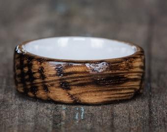 Whiskey Barrel and White Ceramic Ring