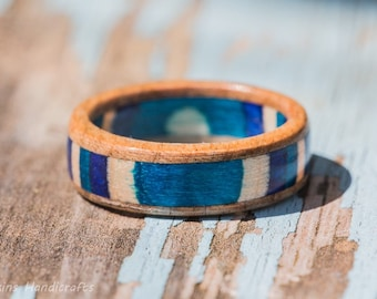 Blue and White Maple Wood Ring