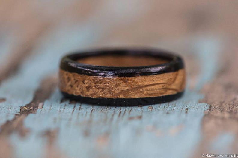 Kentucky Bourbon Barrel and Ebony Wood Ring Bourbon Barrel Ring Mens Wedding Band Womens Wooden Ring Mens Engagement Ring Wood Anniversary