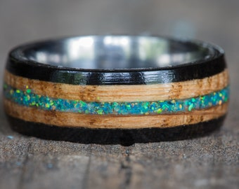 Tennessee Whiskey Barrel and Ebony Wood with Green Opal and Titanium Ring