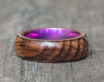 Tennessee Whiskey Barrel and Pink Anodized Titanium Ring