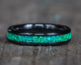 Neon Green Opal White Ceramic Stacking Ring