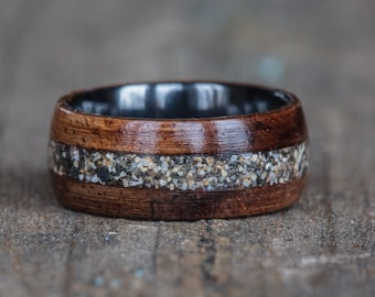 Hawaiian Koa, Black Ceramic, and Your Sand Inlay Ring