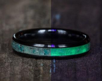 Glowing Amazonite Inlay Black Ceramic Stacking Ring