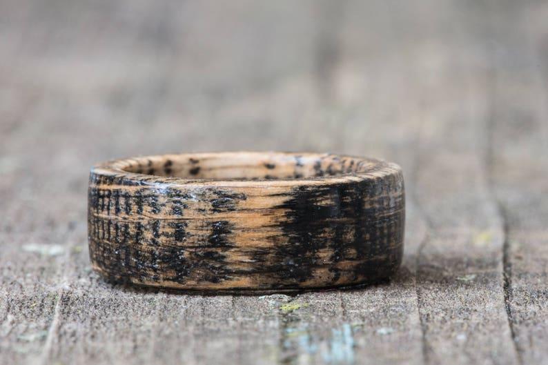 Black Whiskey Barrel Wood Ring  Tennessee Whiskey Barrel Ring 8mm Flat