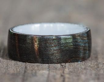 Black Dyed Redwood Burl Ring with White Ceramic Liner