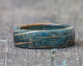 Blue Tennessee Whiskey Barrel Ring - Blue Dyed Wooden Ring Wood Wedding Band Anniversary Gift Mens Wedding Band Womens Ring Engagement Ring