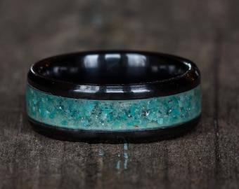 Amazonite Inlay Black Ceramic Ring