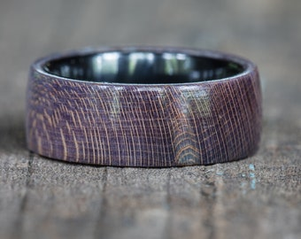 Blue Purple Dyed Maple Wood Ring with Black Ceramic Liner