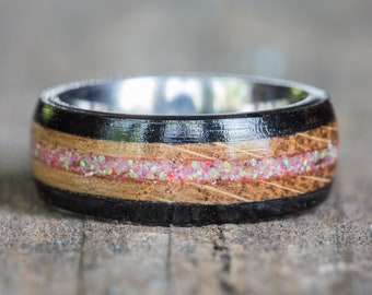 Tennessee Whiskey Barrel and Ebony Wood with Pink Opal and Titanium Ring