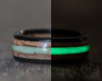Whiskey Barrel and Ebony Ring with Green Glow in the Dark Inlay