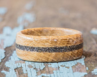 Tennessee Whiskey Barrel Wood Ring With Your Sand Inlay
