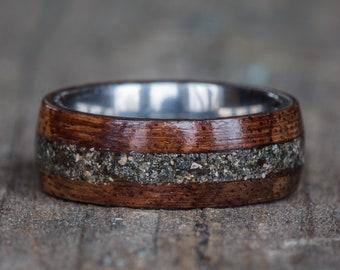 Hawaiian Koa Wood, Titanium, and Your Sand Inlay Ring