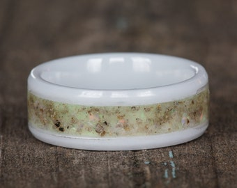 Natural Opal White Ceramic Ring
