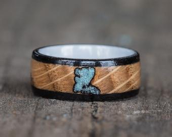 Whiskey Barrel, Ebony, Turquoise, and White Ceramic Ring