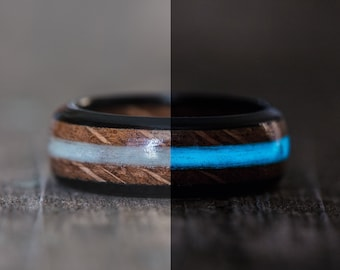 Whiskey Barrel and Ebony Ring with Blue Glow in the Dark Inlay