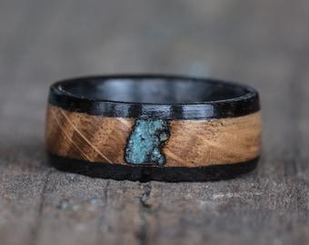 Whiskey Barrel, Ebony, Turquoise, and Carbon Fiber Ring