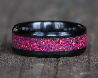 Pink Opal Black Ceramic Ring