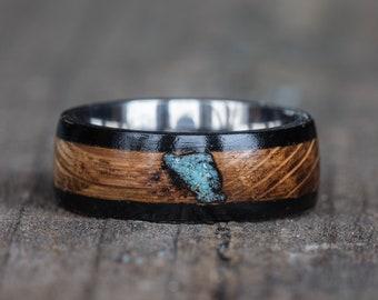 Whiskey Barrel Turquoise Inlay Titanium Ring with Ebony