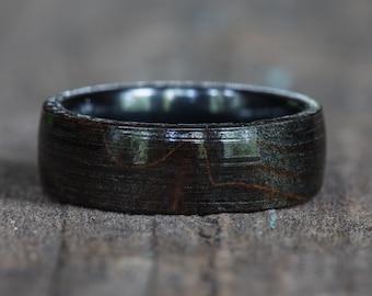 Black Dyed Redwood Burl Ring with Black Ceramic Liner