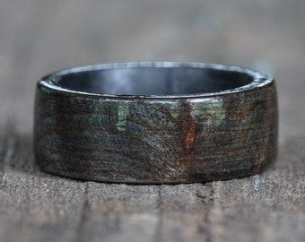 Black Dyed Redwood Burl Ring with Carbon Fiber Liner