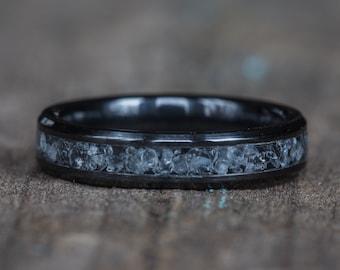 Aquamarine Black Ceramic Stacking Ring