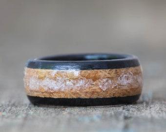 Whiskey Barrel and Ebony Ring with Morganite Inlay