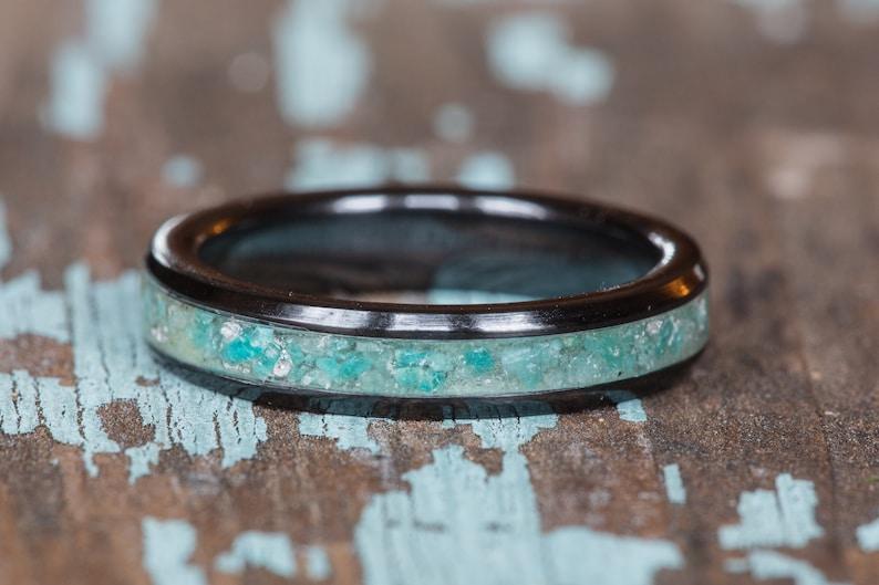 Natural Green Amazonite Layering Ring Women 4mm Wide Wedding Band Engagement Anniversary Gift Amazonite Inlay Black Ceramic Stacking Ring