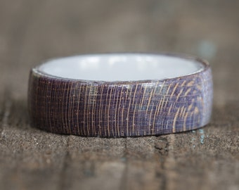 Blue Purple Dyed Maple Wood Ring with White Ceramic Liner
