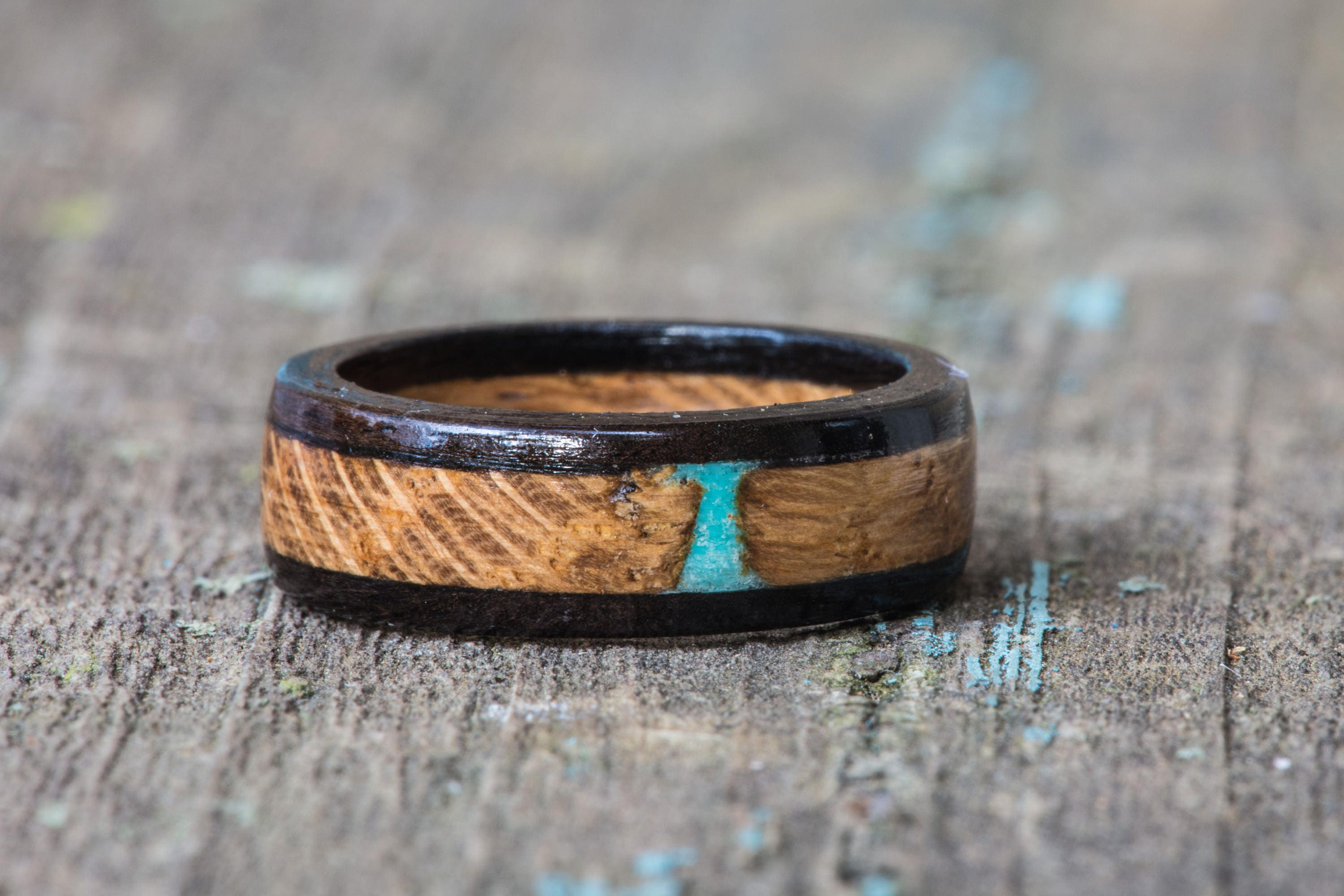 Whiskey Barrel And Ebony Wood Ring With Turquoise Inlay