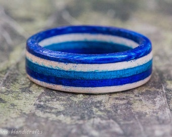 Blue and White Wood Ring