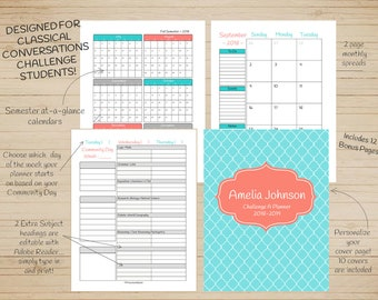 CC Challenge A Homeschool Student Planner 2018-19 Colors: Teal Salmon