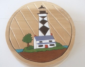 Lighthouse intarsia jewelry/trinket box