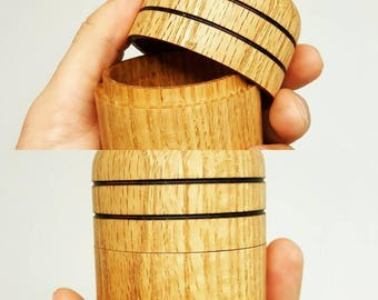 Handmade lidded Wood Stash Box