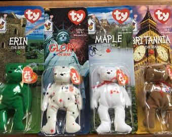 5073ff3ae46 Set of Four McDonalds Ty Beanie Babies International Bears - Erin