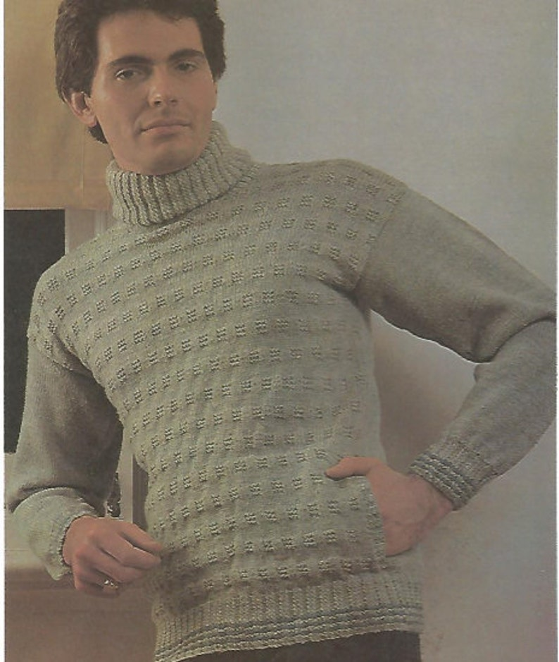 0454a1667 Knit mens sweater pullover turtle neck with side pockets